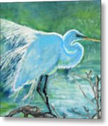 Egret In The Summer Breeze  Metal Print