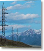 Electric Power Transmission Pylons On Inner Mongolia Grassland At Sunrise  Metal Print