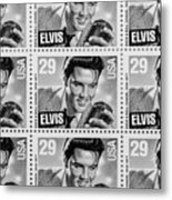 Elvis Commemorative Stamp January 8th 1993 Painted Bw Metal Print