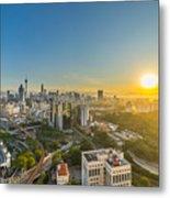 Epic And Beautiful Sunrise At Kuala Lumpur City Center Metal Print