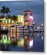 Evening At The Twin Dolphin Marina Metal Print