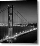 Evening Cityscape Of Golden Gate Bridge - Monochrome Metal Print