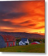 Farm At Sunset In Wentworth Valley Metal Print