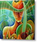 Farmer With Fruits Metal Print