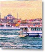 Ferry Traffic On The Bosphorus Metal Print