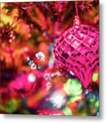 Festive Christmas Tree With Lights And Decorations Metal Print