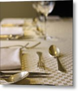 Festive Table Setting For A Formal Dinner  Metal Print