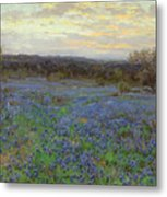 Field Of Bluebonnets At Sunset Metal Print