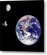 Fifi Goes To The Moon Metal Print