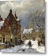 Figures In The Streets Of A Wintry Dutch Town Metal Print