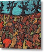 Finding Autumn Leaves Metal Print