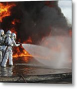 Firefighting Marines Battle A Huge Metal Print