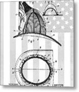 Fireman's Helmet Patent Metal Print