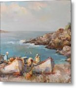 Fishermen With Boats Metal Print