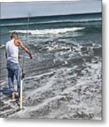 Fishing On The Beach Metal Print