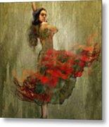 Flamenco In Red Metal Print