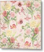 Fleurs De Pivoine - Watercolor W Butterflies In A French Vintage Wallpaper Style Metal Print