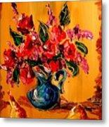 Flowers Modern Abstract Fine Art Canvas Metal Print