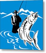 Fly Fisherman Catching Trout Metal Print