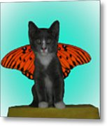 Flying Kitty Metal Print