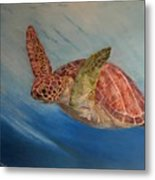 Flying Underwater Metal Print