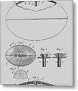 Football Patent Drawing From 1903 Metal Print