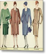 Four Flappers Modelling French Designer Outfits, 1928  Metal Print