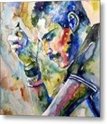 Freddie Mercury Watercolor Metal Print