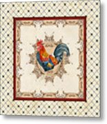 French Country Roosters Quartet Cream 2 Metal Print
