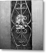 French Quarter Window To The Courtyard - Bw Metal Print
