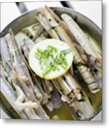 Fresh Razor Shell Seafood Steamed In Garlic Herb Wine Sauce Metal Print