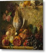 Fruit Flowers And Game Metal Print