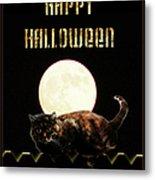 Full Moon Cat Metal Print