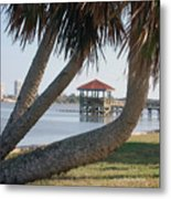 Gazebo Dock Framed By Leaning Palms Metal Print