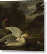 Geese And Ducks Metal Print