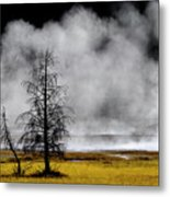 Geysers And Steam Rising In Yellowstone National Park Metal Print