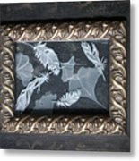 Ginko Leaves And Feathers Metal Print