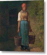 Girl Carrying Water Metal Print