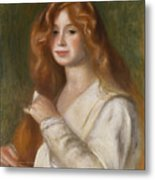 Girl Combing Her Hair Metal Print by Pierre Auguste Renoir