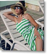 Girl Lies On A Chaise Longue In A Green Striped Dress Metal Print