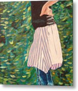 Girl On The Bridge Metal Print