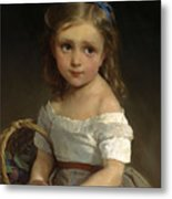 Girl With Basket Of Plums Metal Print