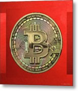 Gold Bitcoin Effigy Over Red Canvas Metal Print