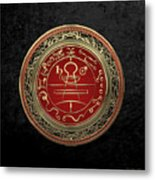 Gold Seal Of Solomon - Lesser Key Of Solomon On Black Velvet  Metal Print