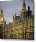 Golden Big Ben Metal Print