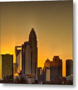 Golden Charlotte Skyline Metal Print