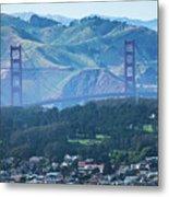 Golden Gate Bridge View From Twin Peaks San Francisco Metal Print