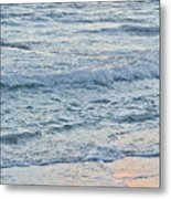 Golden Sunset And Ocean Horizon Metal Print
