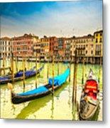 Gondolas In Venice - Italy  Metal Print