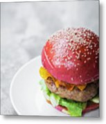 Gourmet Novelty Chicken Burger In Beetroot Bun Metal Print